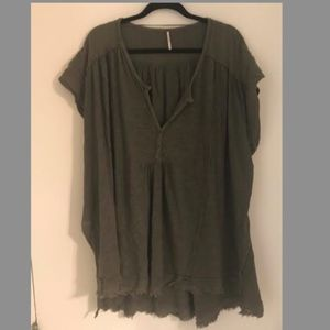 Free People Olive Green Shirt Size M